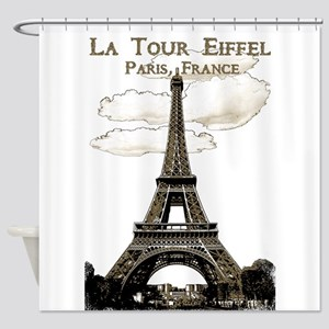 Eiffel Tower-Paris-France-1-Sepia Shower Curtain