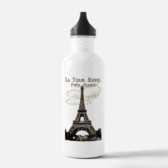 Eiffel Tower-Paris-France-1-Sepia Water Bottle