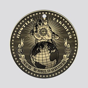 illuminati new world order 911 Round Ornament