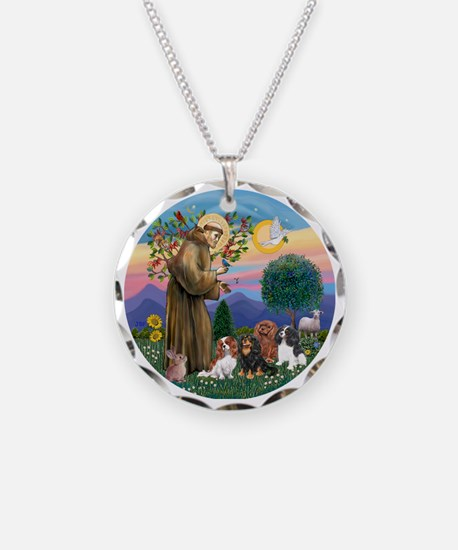 St Francis / 4 Cavaliers Necklace Circle Charm