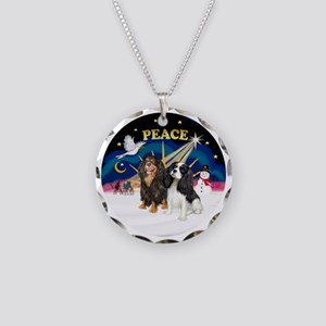 X-SUnrise-Two Cavaliers Necklace Circle Charm