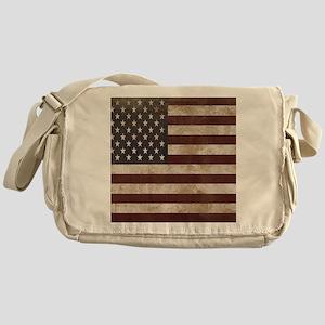 Vintage American Flag King Duvet 1 Messenger Bag