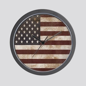 Vintage American Flag King Duvet 1 Wall Clock