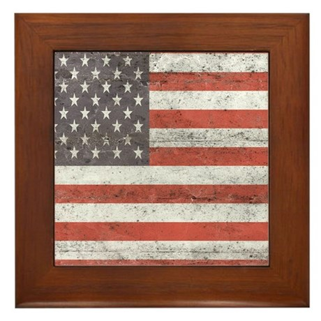 Vintage American Flag Framed Tile By Admin CP16205023