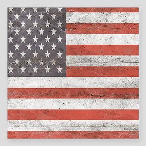 "Vintage American Flag Square Car Magnet 3"" x 3"""
