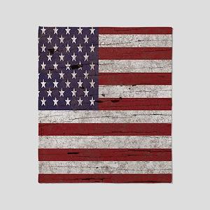 Cracked American Flag Throw Blanket