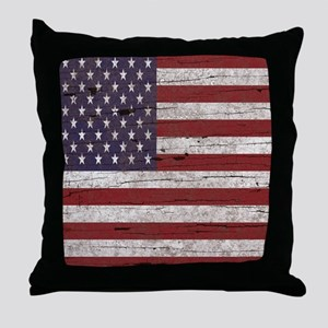 Cracked American Flag Throw Pillow