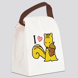 I Love Squirrels Canvas Lunch Bag