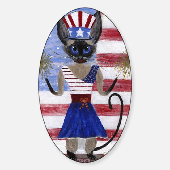 Siamese Queen of the USA Sticker (Oval)