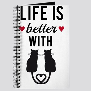 Life is better with cats, text design, wor Journal