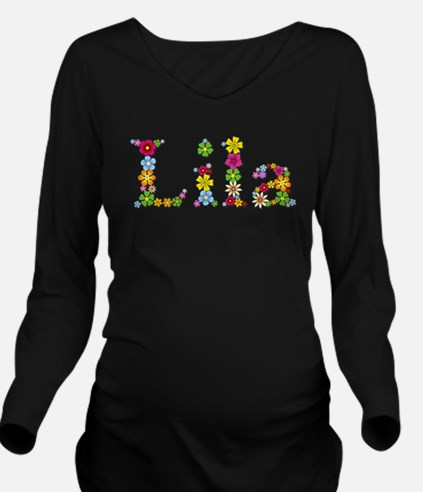 Lila Bright Flowers Long Sleeve Maternity T-Shirt