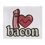 I Heart Bacon Throw Blanket