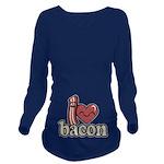 I Heart Bacon Long Sleeve Maternity T-Shirt