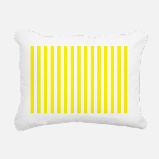 Yellow and White Striped Rectangular Canvas Pillow