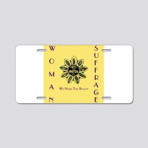 Votes For Women slogans squ Aluminum License Plate