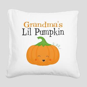 Grandmas Little Pumpkin Square Canvas Pillow