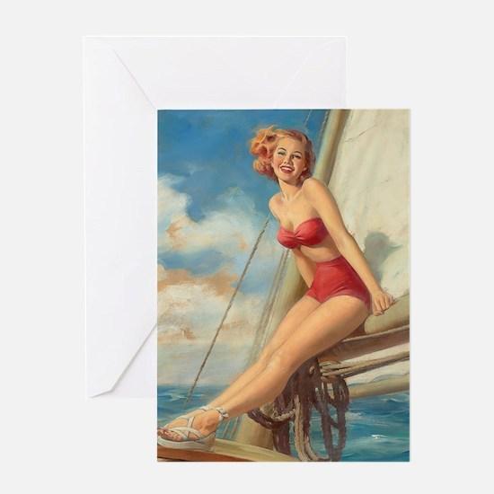 Pinup Sailboat Beach Towel Greeting Card