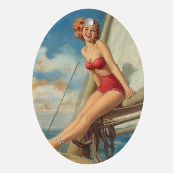 Pinup Sailboat Beach Towel Oval Ornament