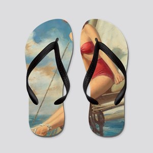 a07ab57d45a71 Thongs. Pinup Sailboat Beach Towel Flip Flops
