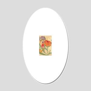Art Nouveau Flowers 20x12 Oval Wall Decal