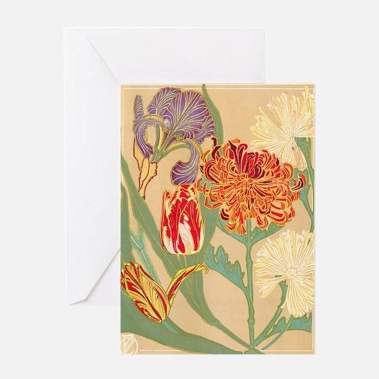 Art Nouveau Flowers Greeting Card