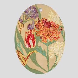 Art Nouveau Flowers Oval Ornament