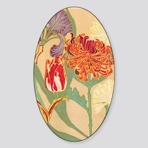 Art Nouveau Flowers Sticker (Oval)