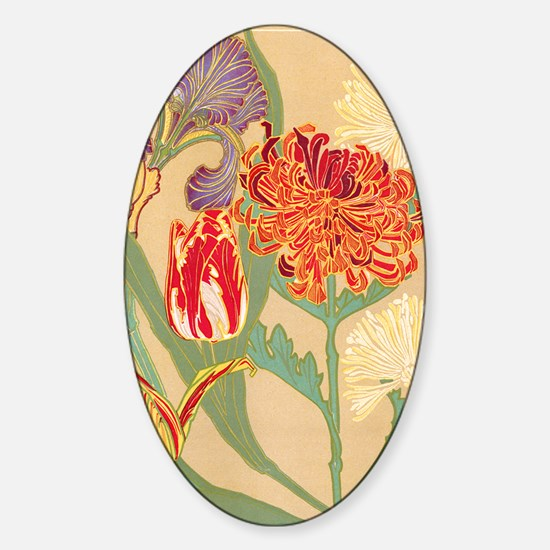 Art Nouveau Flowers Sticker (Oval)