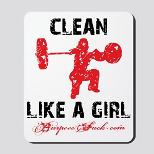 CLEAN LIKE A GIRL - WHITE II Mousepad