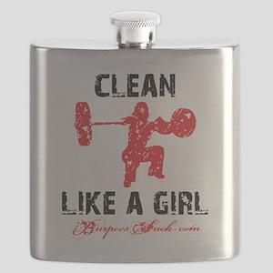 CLEAN LIKE A GIRL - WHITE II Flask