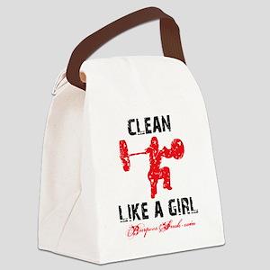 CLEAN LIKE A GIRL - WHITE II Canvas Lunch Bag