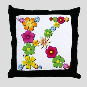 K Bright Flowers Throw Pillow