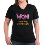 Mom Paycheck Women's V-Neck Dark T-Shirt