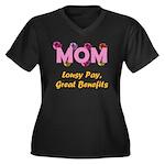 Mom Paycheck Women's Plus Size V-Neck Dark T-Shirt