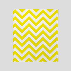 Yellow and White chevrons 1 Throw Blanket