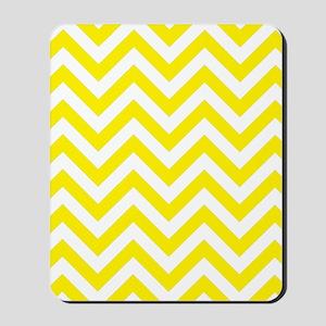 Yellow and White chevrons 1 Mousepad