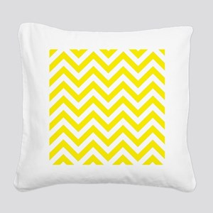 Yellow and White chevrons 1 Square Canvas Pillow