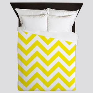 Yellow and White chevrons 1 Queen Duvet