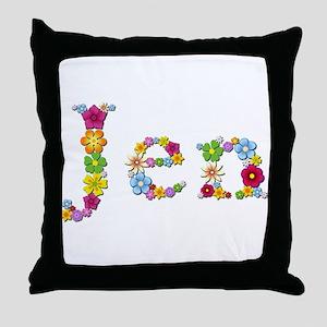 Jen Bright Flowers Throw Pillow