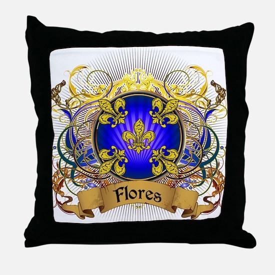 Flores Family Crest Throw Pillow