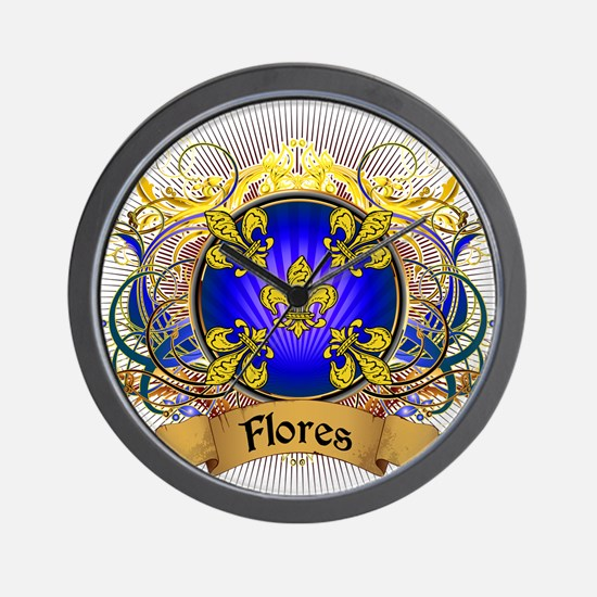 Flores Family Crest Wall Clock
