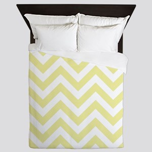 Yellow and White chevrons 2 Queen Duvet