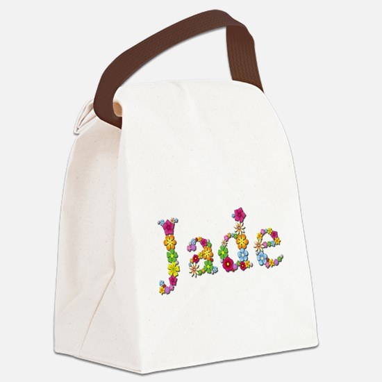 Jade Bright Flowers Canvas Lunch Bag