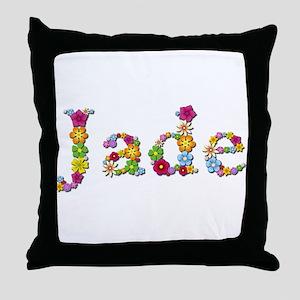 Jade Bright Flowers Throw Pillow