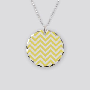 Yellow and White chevrons 6 Necklace Circle Charm