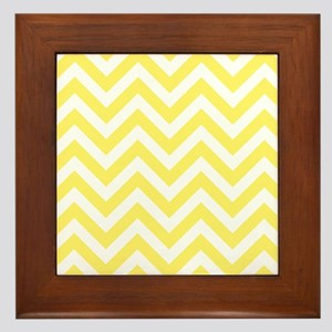 Yellow and White chevrons 6 Framed Tile