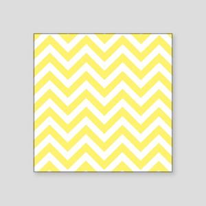 "Yellow and White chevrons 6 Square Sticker 3"" x 3"""