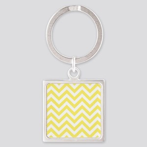 Yellow and White chevrons 6 Square Keychain