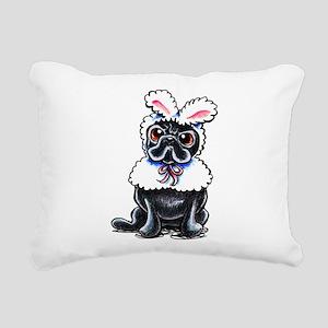 Grumpy Pug Bunny Rectangular Canvas Pillow