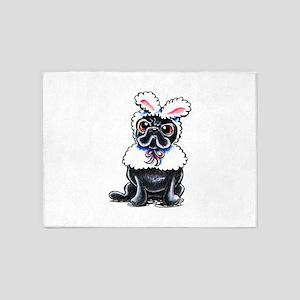 Grumpy Pug Bunny 5'x7'Area Rug